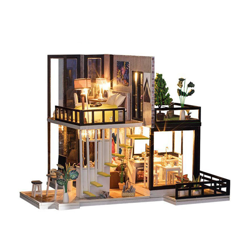 Wooden Handmade Dollhouse Miniature Diy Kit Wooden Dollhouses