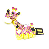 Pink crystal Giraffe design jewelry pen drive with necklace