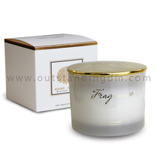400g white glass Scented Candles Luxury Gift Frosted Glass Candle Jar With Lid
