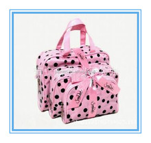 three piece gift bow wholesale promotional polyester large handbag cosmetic make up bag fashion 2014