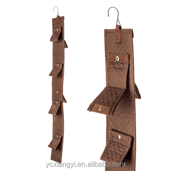Folding multi-level hanging bag organizer with hook hanging in the closet for purse handbag storage