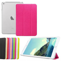 Three folding stand Smart Leather Cover For iPad Mini 4, for apple ipad mini 4 transparent case