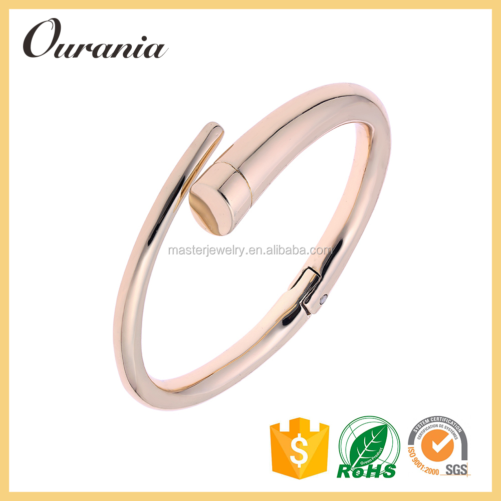 Rose Gold Plated Stainless Steel Fashion Nail Bangle for Women