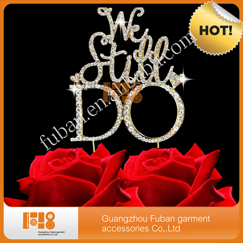 We Still Do Rhinestone custom anniversary cake toppers personalised gold tone anniversary decorations