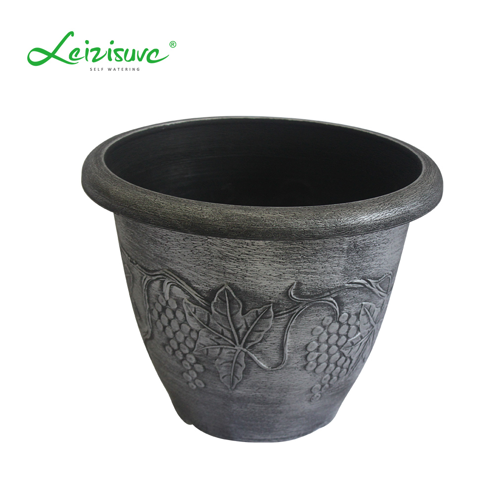 Leizisure Wholesale 6/8 /10/12/15 Inch Round Garden Indoor Outdoor Christmas Tree Planting Plastic Plant Flower Pot