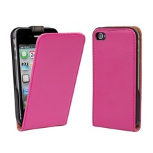 Vetical Flip Genuine Leather Case for iPhone 4 4S with 10 Colors