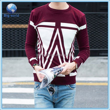 Round collar korean fashion men Polyester Cotton men's sweater BIGWORLD factory price high quality knitted men pullover sweater