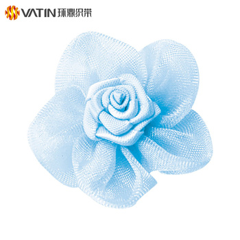 High End Exclusive Design Artiticial Wedding Organza Flower Decoration Satin Ribbon