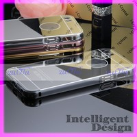 Aluminum bumper with pc mirror back cover 2 in 1 mobile case for mobile smartphone