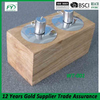 Outdoor garden and table decoration teak wooden oil lamp with stainless steel tank and new wick holder WT-001