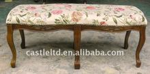 Antique Upholstered wooden bench/Vintage solid wood fabric covered bench/French style antique wooden bench