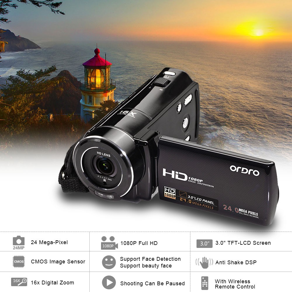 Ordro V7 Home Use HD 1080P 24MP Digital Video Camera With Rotating LCD Screen