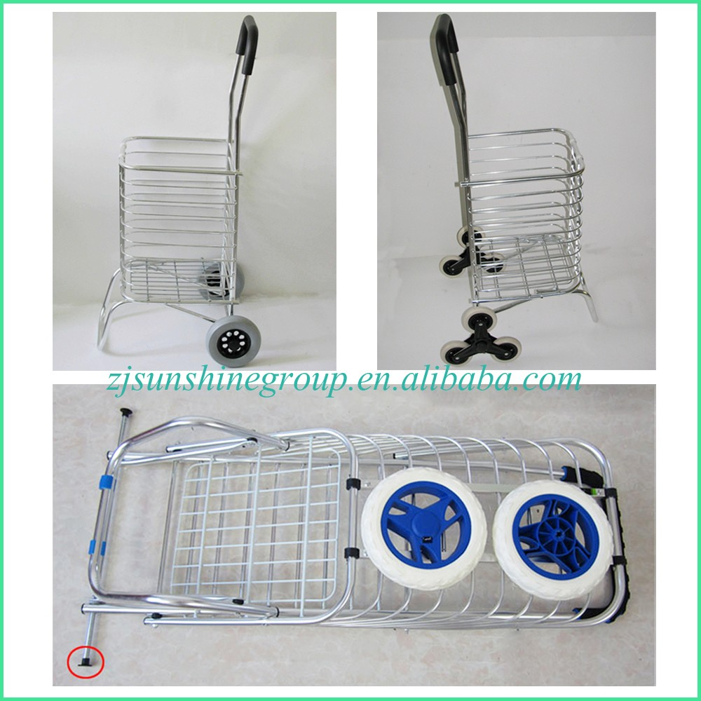 Heavy Duty and Foldable Trolley Cart Aluminium Shopping Basket with 3 Wheels Foldable Hand Truck ; Supermarket Trolley