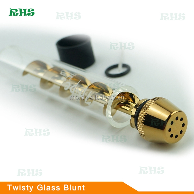 V12 Twisty Glass Blunt Pipe Glass Bubbler 7pipe for Smoking Dry Herb Glass Water Pipe