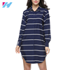 2017 New Fashion High Quality striped Femininas European vintage turn down collar long sleeve dress