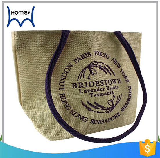 Promotional 100kg used wine bottle jute tote bag leather handle