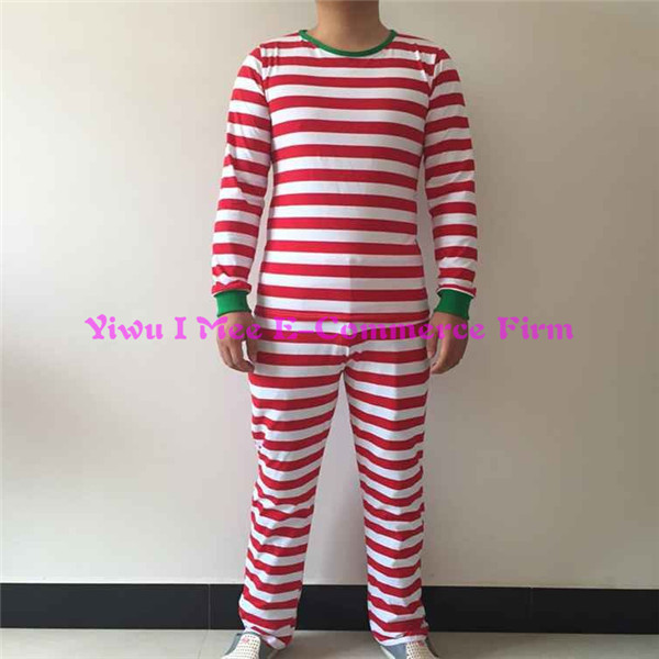 Boutique Matching Family Christmas Pajamas Plus Size Adult Red Stripe Cotton Christmas Outfits IM-CSL167