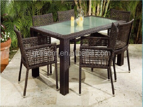 outdoor black cane furniture baccarat table and chair