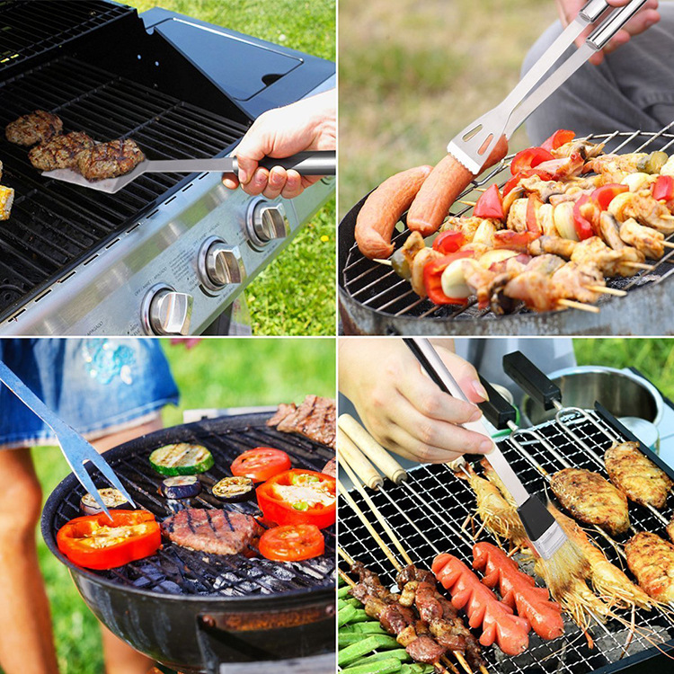Hoge kwaliteit multifunctionele draagbare outdoor barbecue vork mes kit set 18 stks aluminium case bbq grill tool