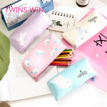 2019 Japan newest promotional custom cute girl  leather unicorn pencil case with zipper waterproof pen bag 574