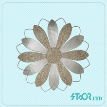Rectangle rustic flowers metal wall decor