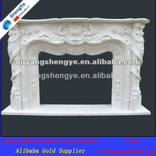 White marble indoor fireplace mantel