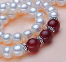 Freshwater Pearl Round Red And Green Pearl Necklace 839223