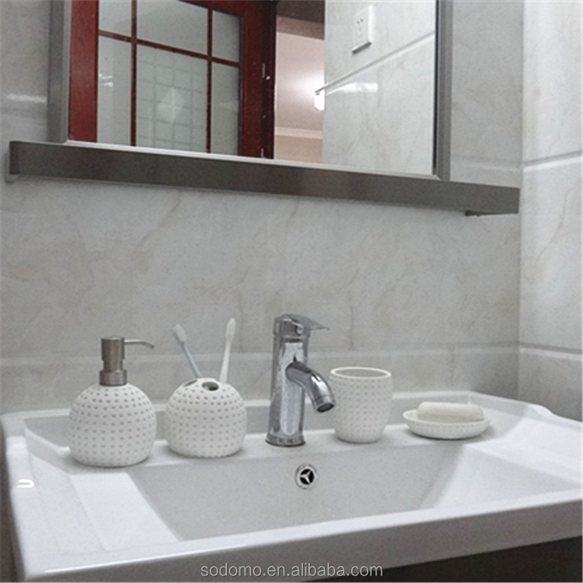 Bathroom accessory set resin white stone table set globe concave point 5 set bathroom accessory