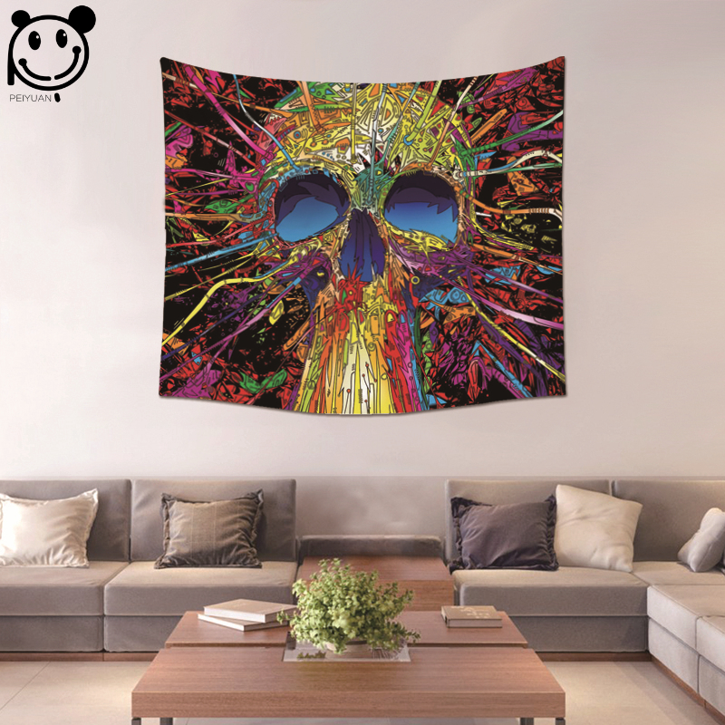PEIYUAN Hot Sale Colorful Lady Face Skull Tapestries Wall Hanging Cloth Water Color Tapestry Beach Towel Home Decorative