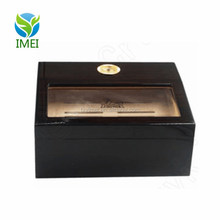 YM0E09 Hi-Q Cedar Wood Glass Display Tray CIGAR HUMIDOR With Hygrometer Cohiba Shadow Box
