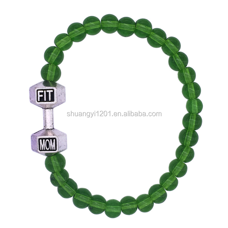 Dumbbells Beads Fit Mom Bracelet Personalized Custom Fitness Jewellery