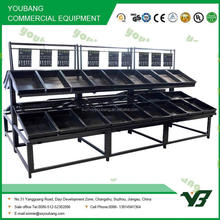 Double Sides steel vegetable rack and fruit shelf with 2 tiers powder coated
