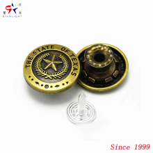 Foshan e custom made brand metal alloy brass shank tack button 2017 for denim jeans jacket manufacturer
