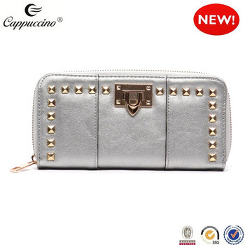 2017 fashion lady high quality popular hot selling silvery color women leather wallet with lock