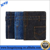 leather case for iPad with jeans material and different standing degree