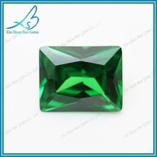 Green luster jewelry stones rectangle bulk cz diamond gemstone