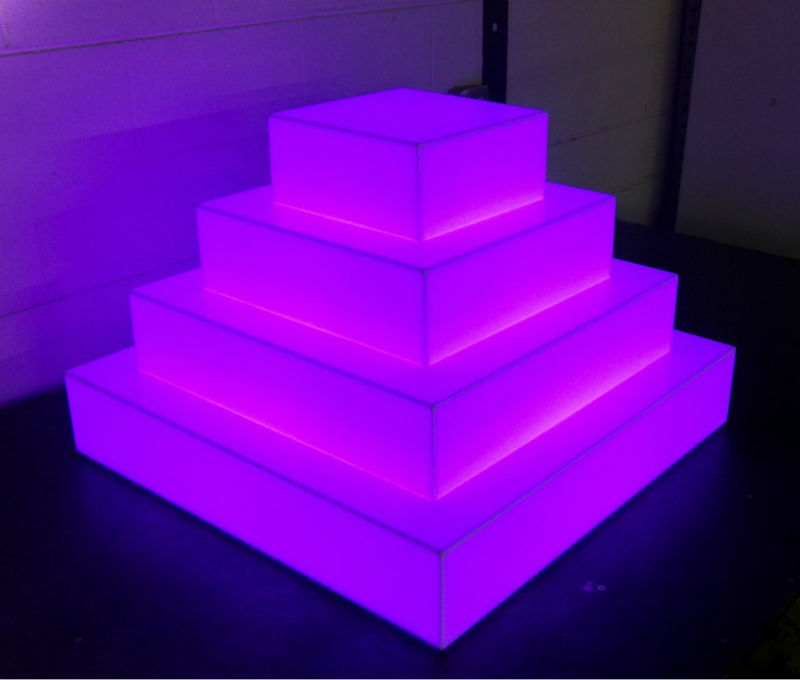 RGB Color lighted acrylic cake stand