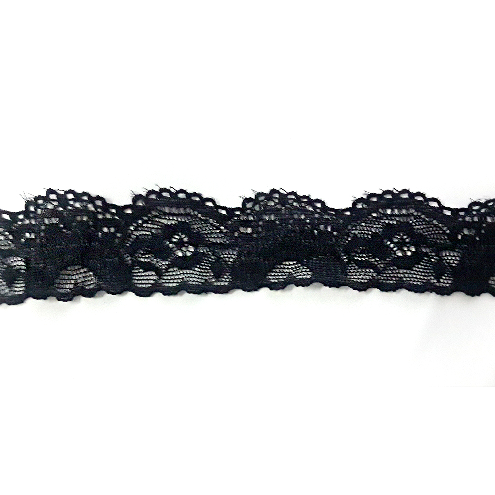 Factory Promotion black single sided scalloped elastic flower nylon lace for curtain border