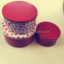 Red round Empty Tin Can Heart Pattern