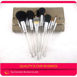 14pcs high quality makeup brush set goat hair with clear makeup brushes