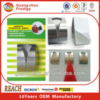 Adhesive stainless steel towel holder