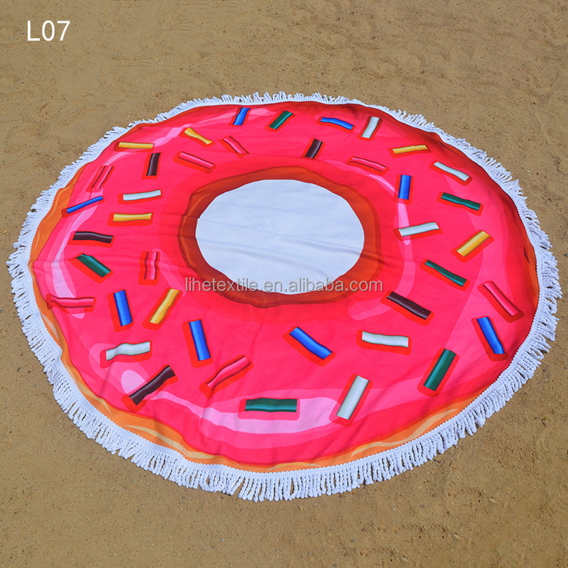cheap price no fading sun swiming seaside holiday donuts beach towel round