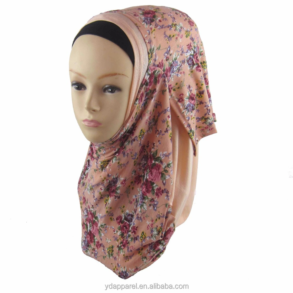 wholesale muslim Women Autumn spring Flower Casual Wrap Two faces printed jersey instant hijabs