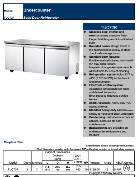restaurant ventilated undercounter freezer and refrigerator with ETL ,NSF and two solid doors