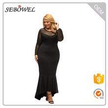 Black Sheer Mesh Splice Curvy Mermaid Dress Evening Gown Designs for Fat Girl