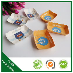 Various design paper food chips tray with logo printing