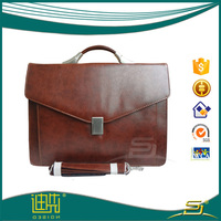 Good pu leather briefcase with laptop bag phone holder