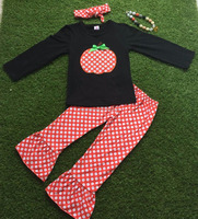 wholesale kids hand pumpkin embroidery fall boutique girl clothing 2016