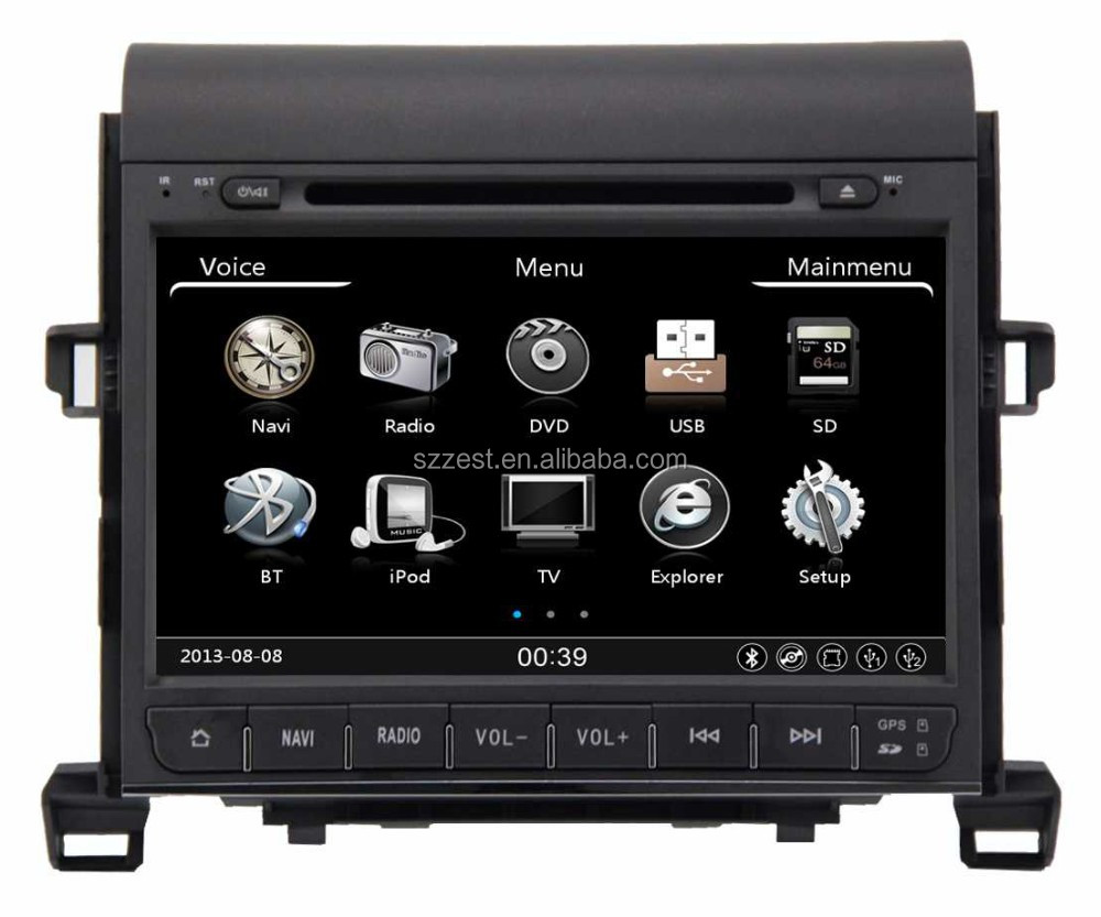 High performance dual-core A8 dvd mp3 player FM AM gps, for toyota alphard car audio/