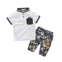 European boy outfits white shirt and floral printed pants children clothes sets high quality boy clothing kids